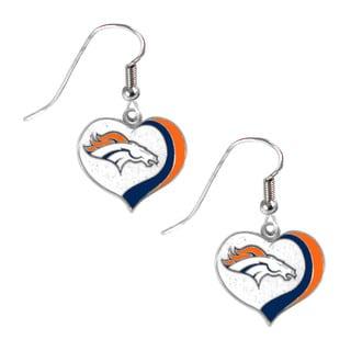NFL Denver Broncos Glitter Heart Earring Swirl Charm Set