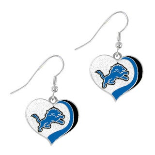 NFL Detroit Lions Glitter Heart Earring Swirl Charm Set