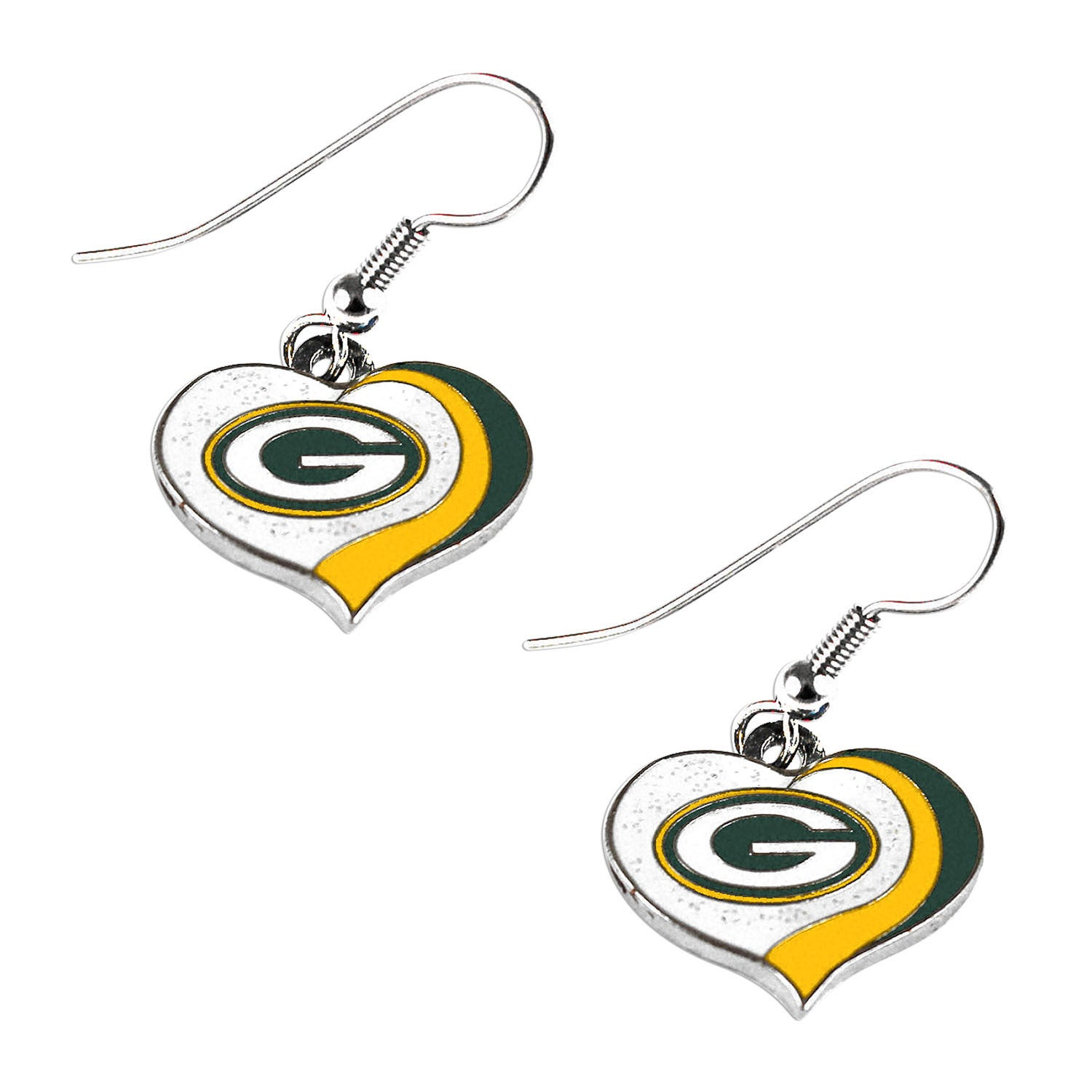 aminco Green Bay Packers Sports Team Logo Glitter Heart Necklace and Earring Set