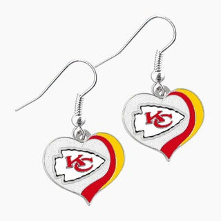 NFL Kansas City Chiefs Glitter Heart Earring Swirl Charm Set
