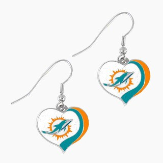 NFL Miami Dolphins Glitter Heart Earring Swirl Charm Set
