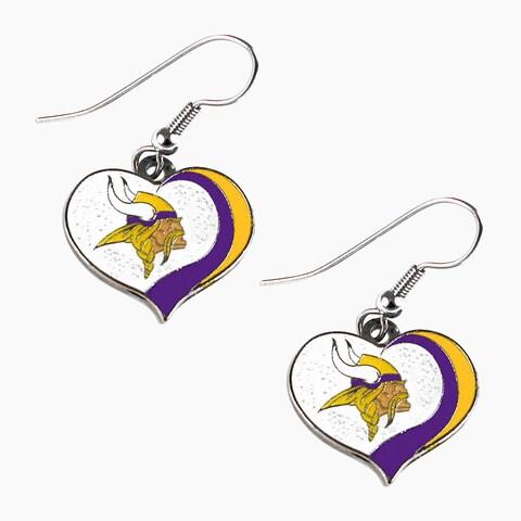 NFL Minnesota Vikings Glitter Heart Earring Swirl Charm Set