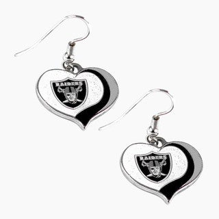 NFL Oakland Raiders Glitter Heart Earring Swirl Charm Set