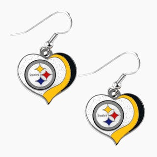 NFL Pittsburgh Steelers Glitter Heart Earring Swirl Charm Set