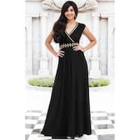 KOH KOH Womens Cap Sleeve Cocktail Gold Lace Maxi Dress
