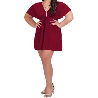 KOH KOH Women's Plus Size V-Neck Kimono Sleeve Empire Waist Mini Caftan