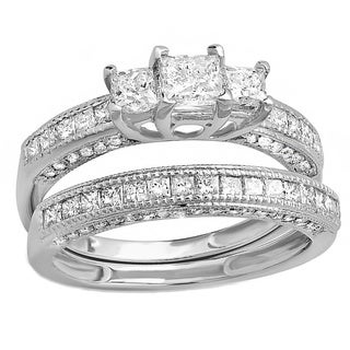 14k White Gold 1 3/4ct TDW Princess and Round Diamond Bridal Ring Set (H-I, I1-I2)
