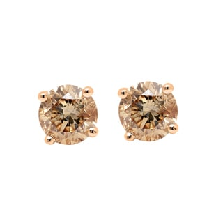 14k Gold 1ct TDW Round Cut Champagne Diamond Stud Earrings