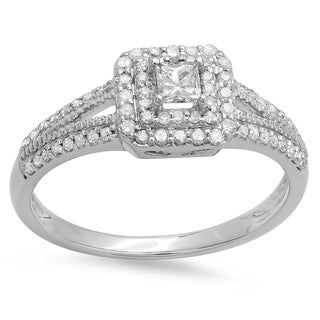 Elora 14k White Gold 1/2ct TDW Princess and Round Cut Diamond Split Shank Bridal Halo Engagement Ring (I-J