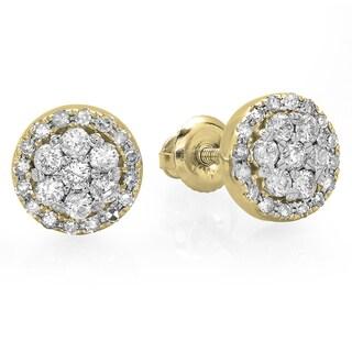 14k Gold 1/2ct TDW Diamond Cluster Flower Stud Earrings (H-I, I1-I2)