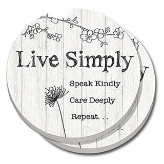 Counterart Absorbent Stone Car Coaster Live Simply (Set of 2)