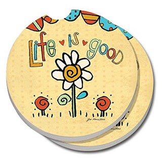 "Counterart Absorbent Stone Car Coaster Life is Good (Set of 2) - 2.5""d"