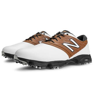 New Balance Mens NBG2001 White/Brown Golf Shoes