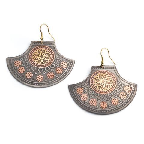 Handmade Rani of Jhansi Brass Statement Earrings (India)