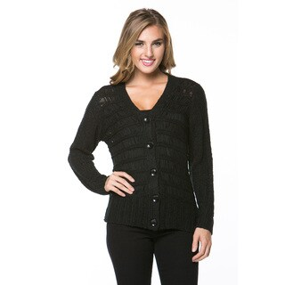 High Secret Women's Black Thick Knit Cardigan