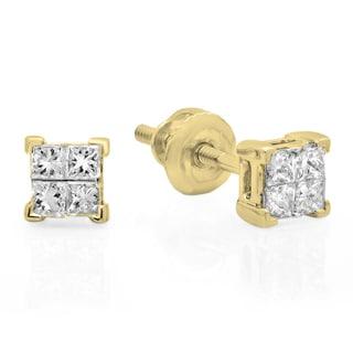 Elora 14k Gold 1/3ct TDW Princess-cut Diamond Invisible Stud Earrings (I-J, I2-I3)