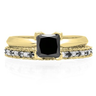 Elora 10k Gold 1 1/2ct TDW Black and White Diamond Bridal Ring Set (H-I, I1-I2)