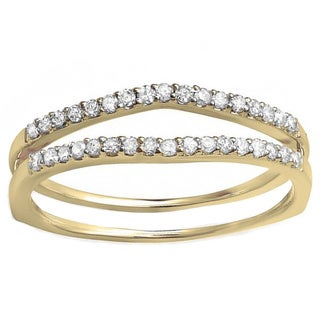 Elora 10k Yellow Gold 1/4ct TDW Diamond Enhancer Guard Wedding Band (H-I, I1-I2)