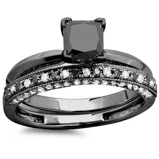 Elora 10k Black Gold 1 1/2ct TDW Black and White Diamond Ring Set (I1-I2)