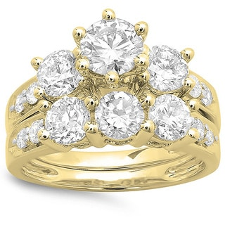 Elora 14k Yellow Gold 3 1/10ct TDW Diamond Bridal Stone Engagement Ring With Matching Band Set (I-J, I1-I2