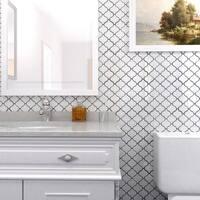 SomerTile 9.5x10.75-inch Marrah Lantern Glossy White Porcelain Mosaic Floor and Wall Tile (10 tiles/7.3 sqft.)
