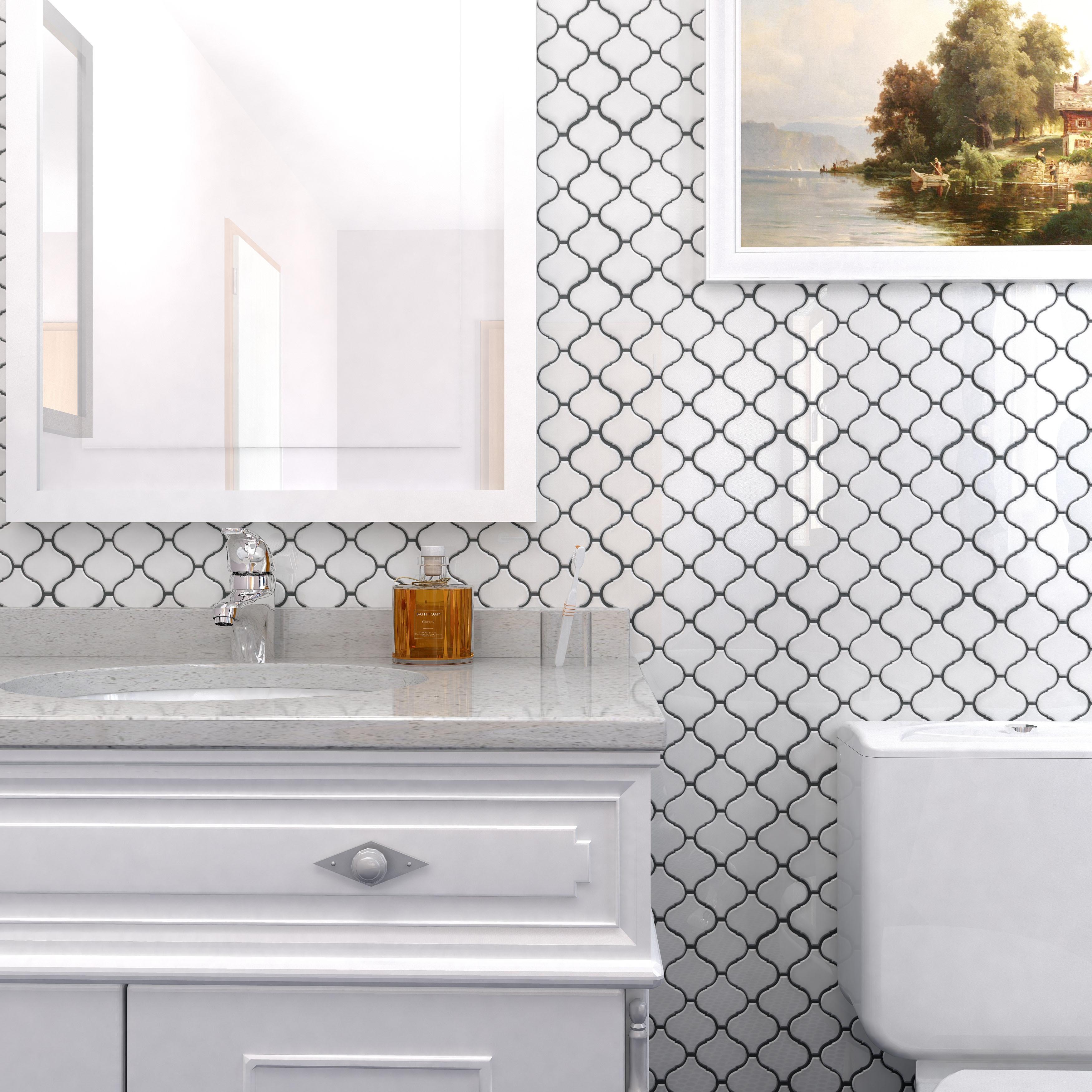 Somertile 9 5x10 75 Inch Marrah Lantern Glossy White Porcelain Mosaic Floor And Wall Tile 10 Tiles 7 27 Sqft