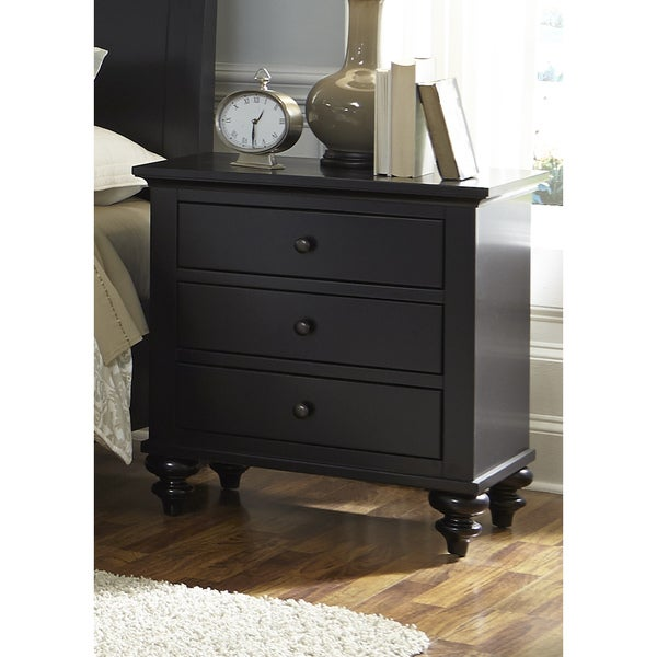 hamilton iii black cottage 3 drawer nightstand free shipping today 18106319. Black Bedroom Furniture Sets. Home Design Ideas