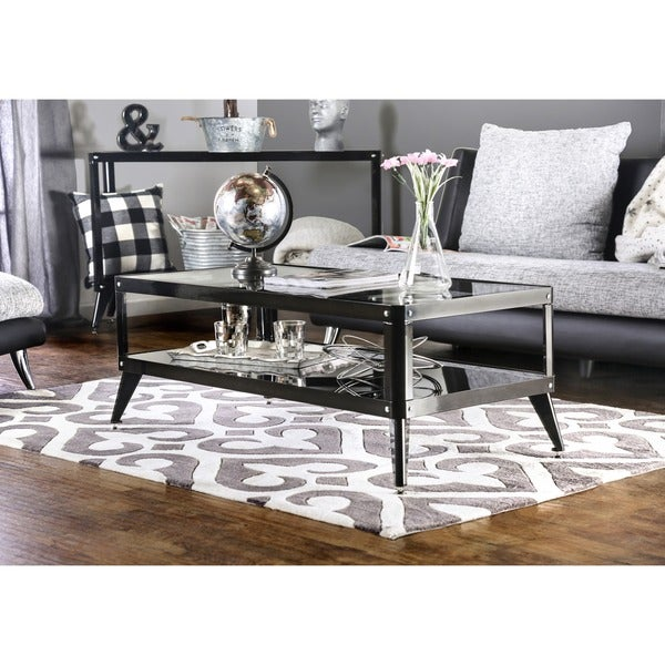 Furniture Of America Linden Modern Glass Top Metal Coffee Table