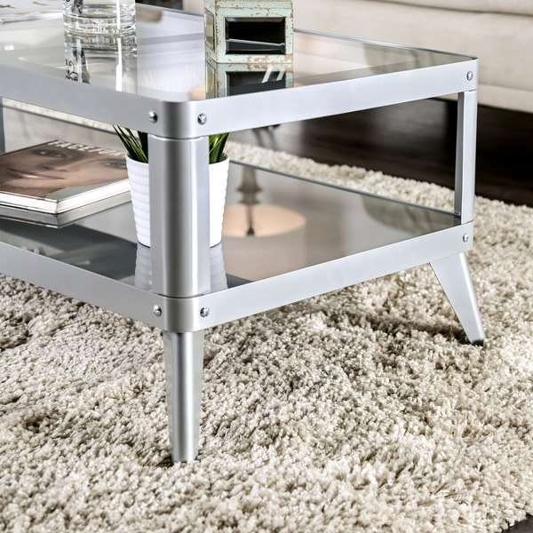Furniture Of America Linden Modern Glass Top Metal Coffee Table   Free  Shipping Today   Overstock.com   18106365
