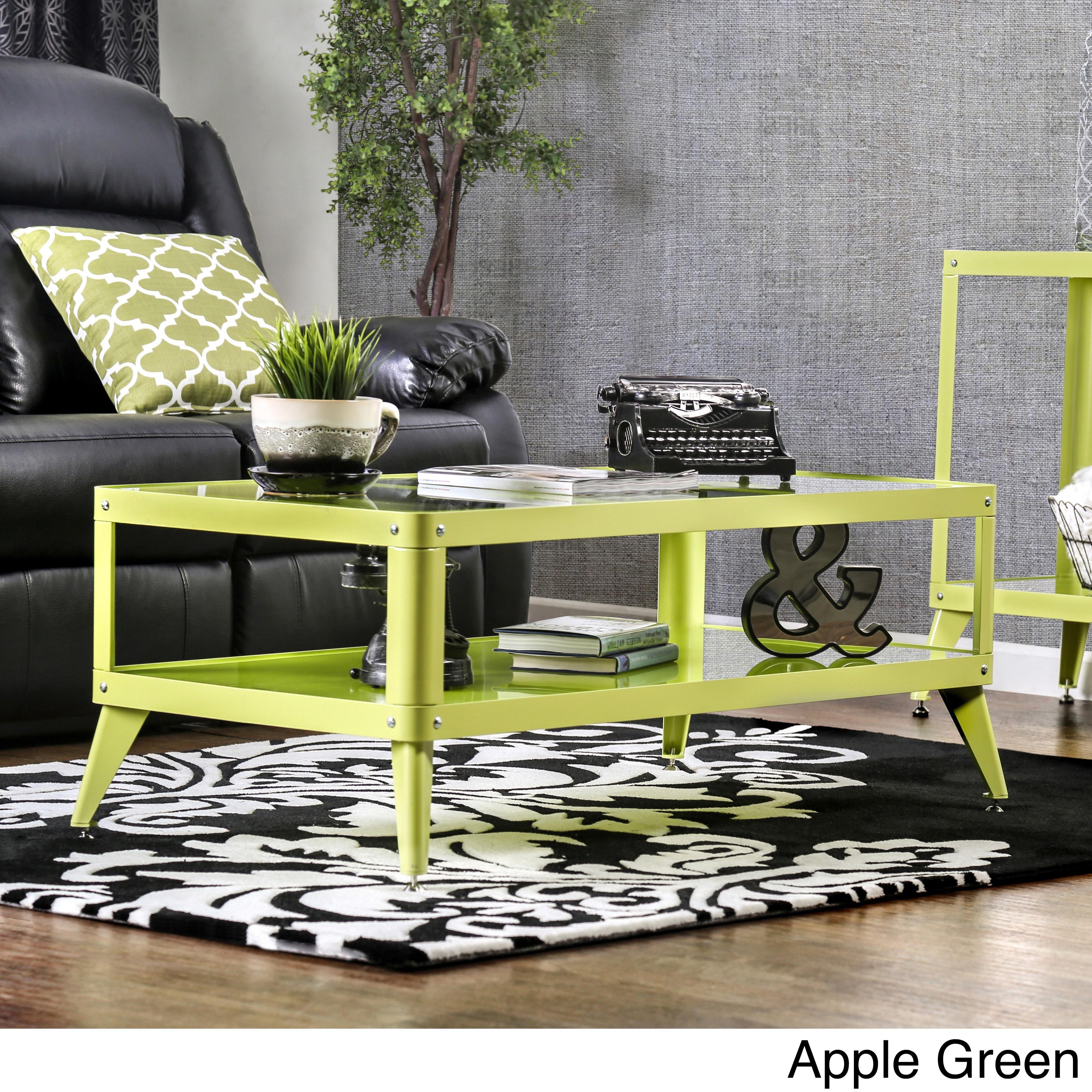 Furniture of America Linden Modern Glass Top Metal Coffee...