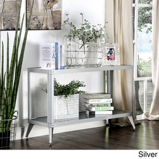 Furniture of America Linden Modern Glass Top Metal Sofa Table