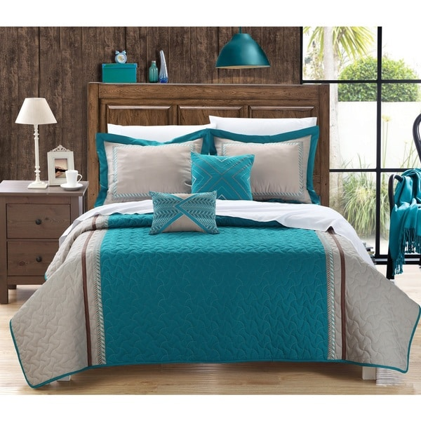 Chic Home Paulo Teal Embroidered 5-piece Quilt Set