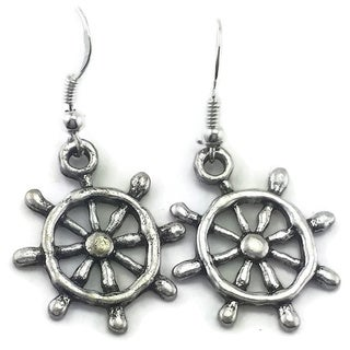 Mama Designs Handmade Sterling Silver Ships Wheel Dangling Earrings