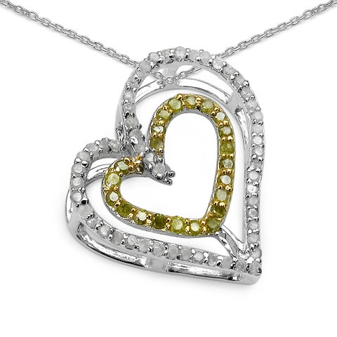 Olivia Leone Sterling Silver 2/5ct TDW White and Yellow Diamond Pendant