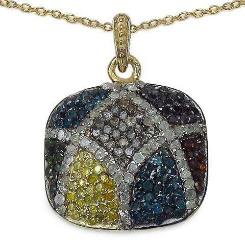 Olivia Leone Sterling Silver 1/2ct TDW White Diamond Pendant