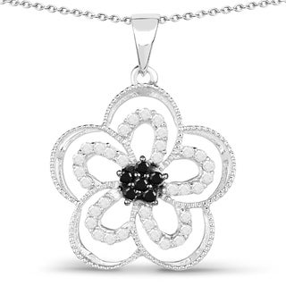 Olivia Leone Sterling Silver 1/2ct TDW White and Black Diamond Pendant