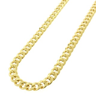 .925 Sterling Silver Hollow Miami Cuban Curb Link Yellow Gold Plated Chain 7.5 mm Necklace