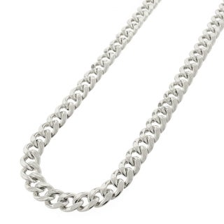 .925 Sterling Silver Hollow Miami Cuban Curb Link Rhodium Plated Chain 7.5 mm Necklace