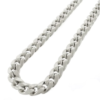 .925 Sterling Silver Hollow Miami Cuban Curb Link Rhodium Plated 13 mm Chain Necklace