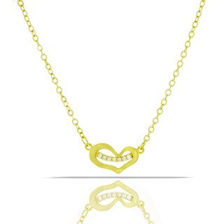 Womens Fashion Crystal Heart Yellow Gold Plated Pendant 18-inch Chain Necklace