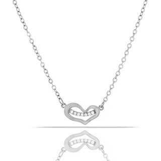 Womens Fashion Crystal Heart Pendant 18-inch Chain Necklace