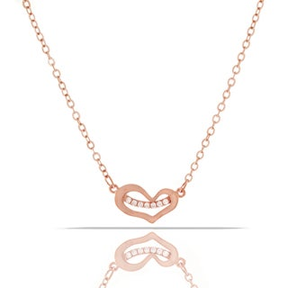 Womens Fashion Crystal Heart Rose Gold Plated Pendant 18-inch Chain Necklace