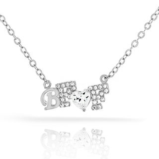 Womens Fashion Best Friend BFF Heart Crystal Pendant 18-inch Chain Necklace