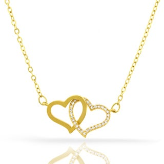 Womens Fashion Double Heart Crystal Yellow Gold Plated Pendant 18-inch Chain Necklace