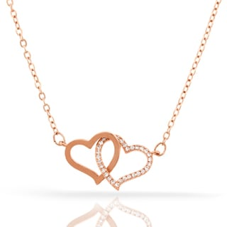Womens Fashion Double Heart Crystal Rose Gold Plated Pendant 18-inch Chain Necklace