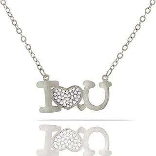 Womens Fashion Fancy I Love You Heart Crystal Pendant 18-inch Chain Necklace