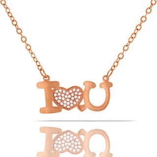 Womens Fashion Fancy I Love You Heart Crystal Rose Gold Plated Pendant 18-inch Chain Necklace