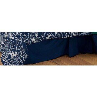 Rizzy Home Travel and Explore Collection Solid Navy Bedskirt