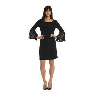 R & M Richards Women's Lace Sleeve Dress