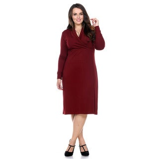 Stanzino Women's Plus Size Long-Sleeve Knee-Length Sweater Dress
